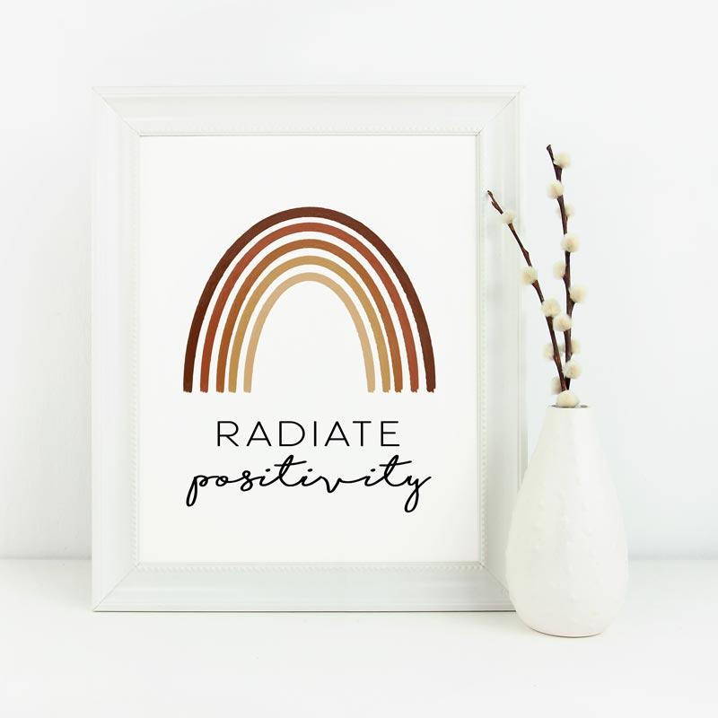 Rainbow-Themed Printable Poster: Radiate-positivity
