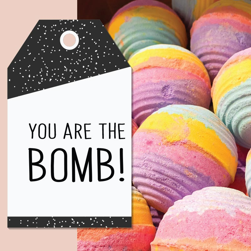 Home Spa Day printable cards: you are the bomb