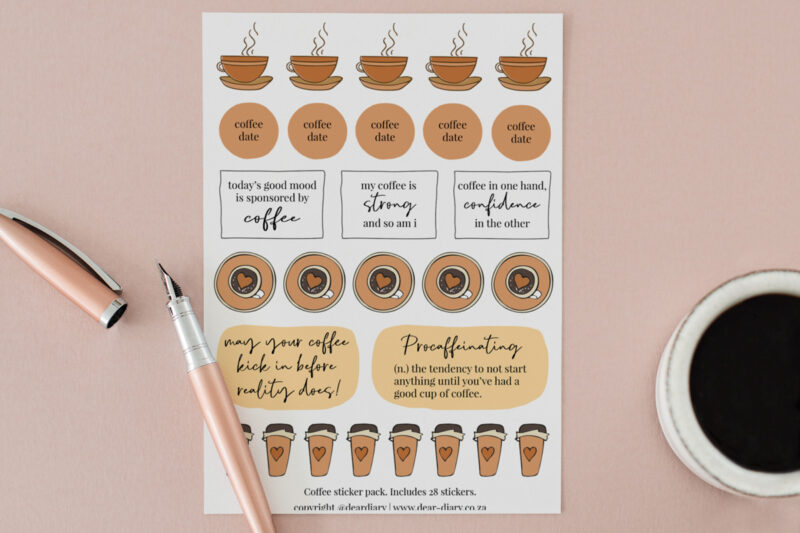 Coffee Planner Stickers A5 sheet