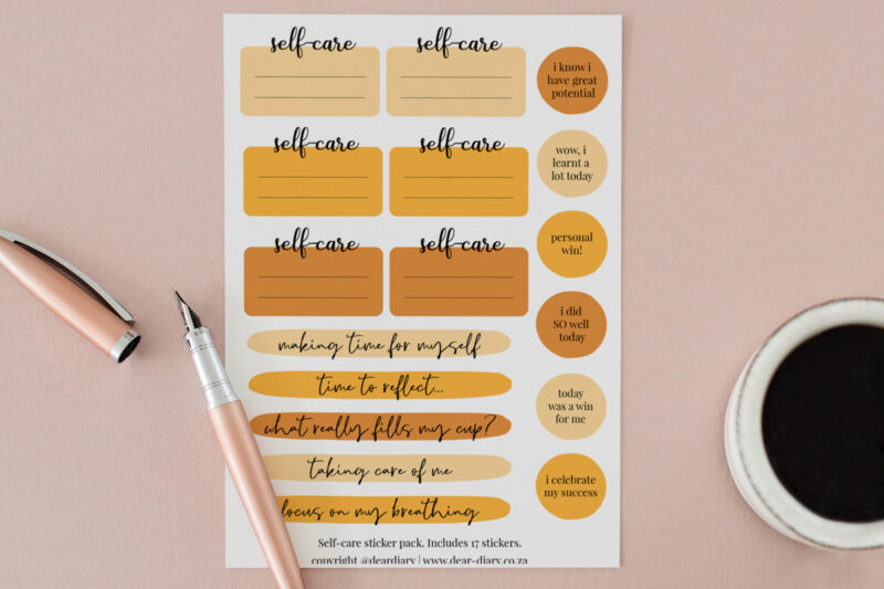 Self Care Stickers on A5 sheet