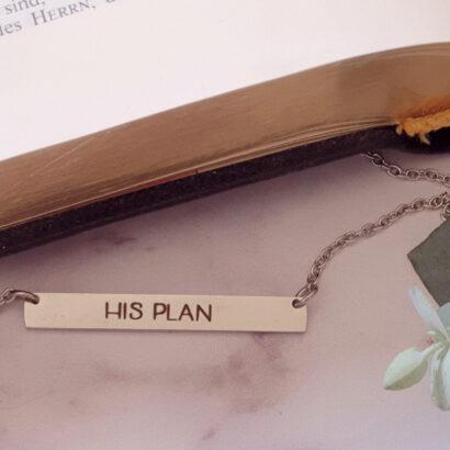 His Plan horizontal bar necklace silver