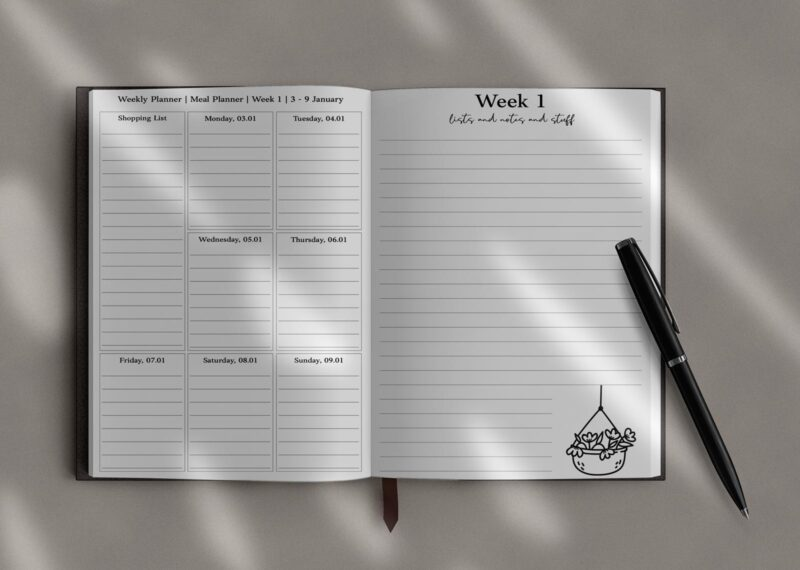 Weekly overview page and lined notes and lists page of the Everything Planner 2022