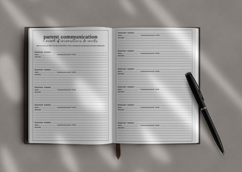 Parent Communication Page in the Teacher Planner